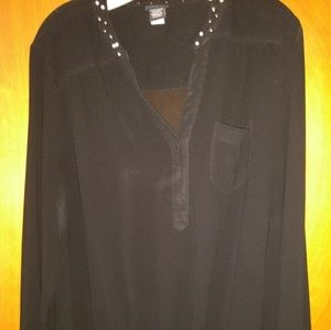 Torrid #1 black sheer w/ pearl accents lng sleeve